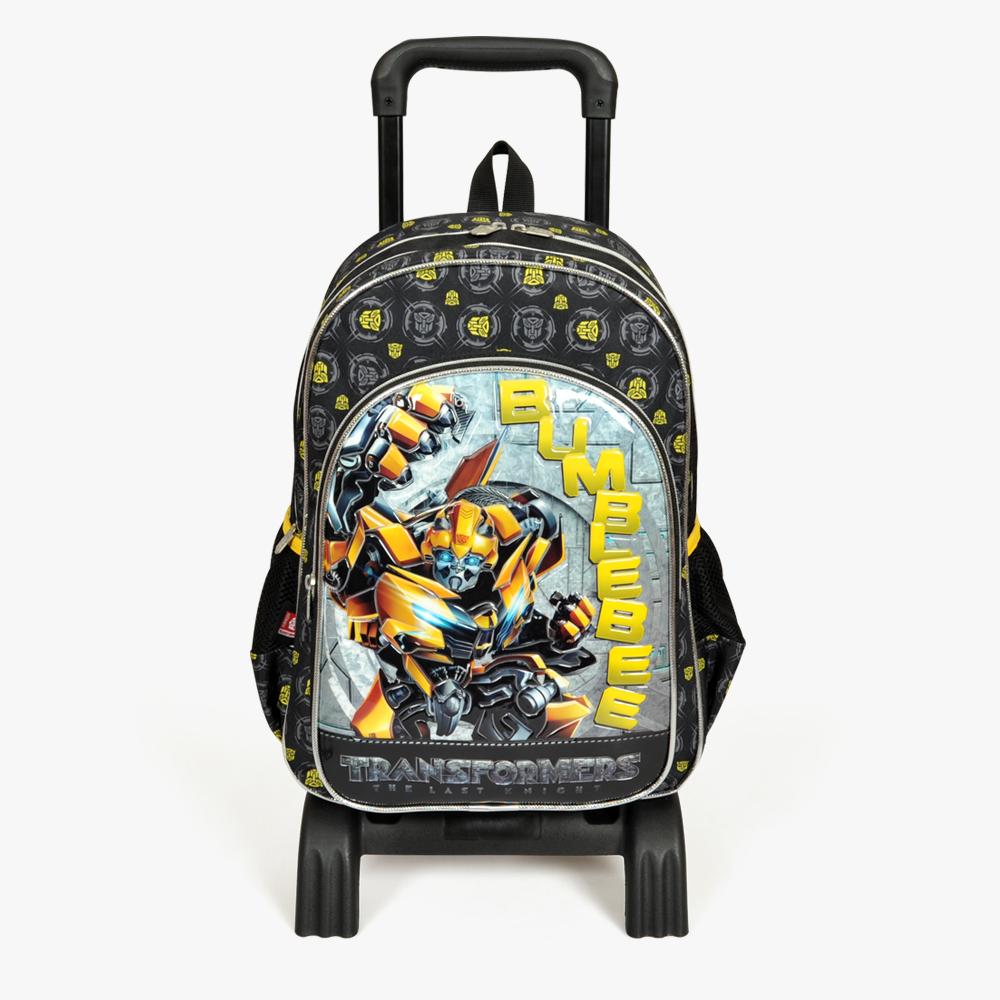 Transformers - Transformers Üç Bölmeli Siyah Çekçekli Okul Çantası