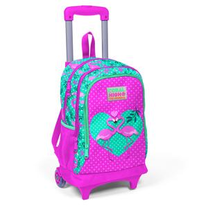 Coral High KIDS - Coral High Kids Su Yeşili Pembe Flamingo Desenli Işıklı Tekerlekli İki Bölmeli Çekçekli Sırt Çantası (1)