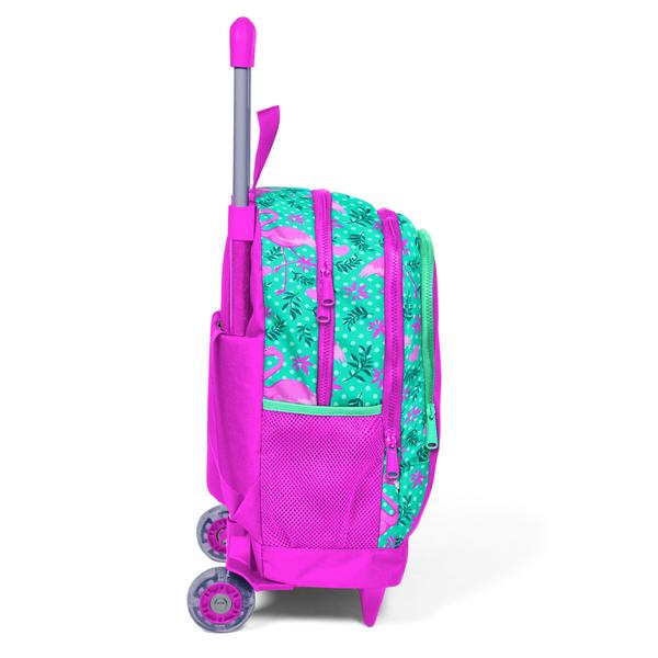 Coral High Kids Su Yeşili Pembe Flamingo Desenli Işıklı Tekerlekli İki Bölmeli Çekçekli Sırt Çantası