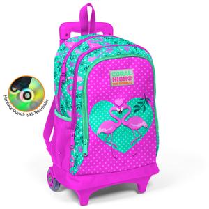 Coral High KIDS - Coral High Kids Su Yeşili Pembe Flamingo Desenli Işıklı Tekerlekli İki Bölmeli Çekçekli Sırt Çantası