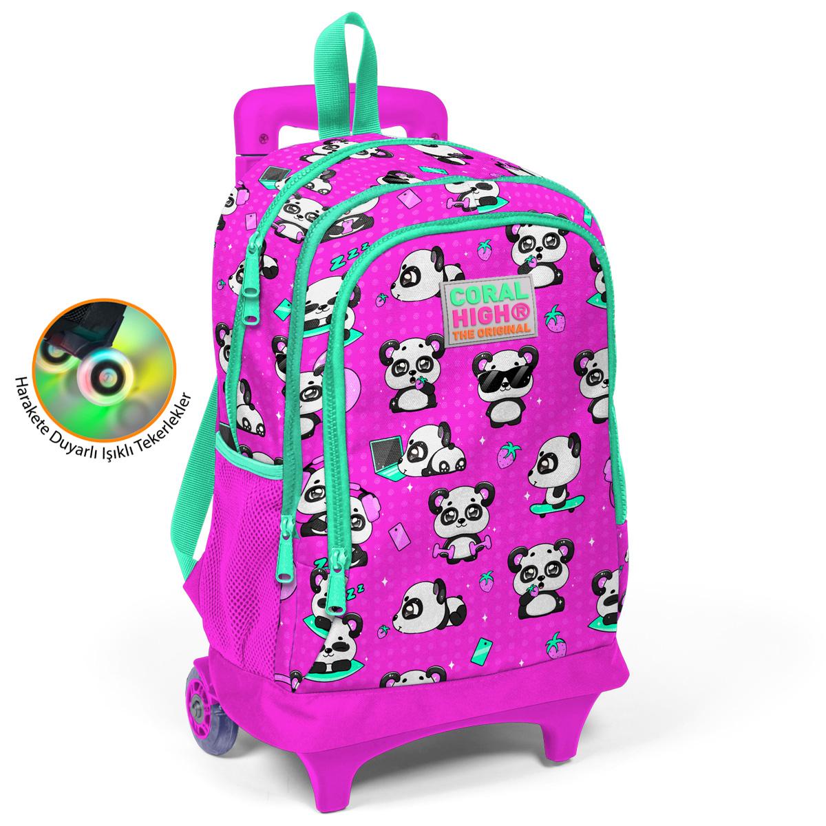 Coral High KIDS - Coral High Kids Pembe Panda Işıklı Tekerlekli İki Bölmeli Çekçekli Sırt Çantası