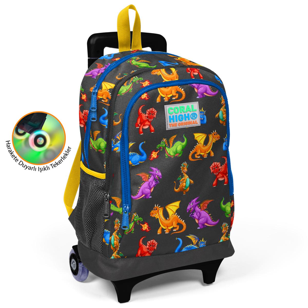 Coral High KIDS - Coral High Kids Gri Ejderha Desenli Işıklı Tekerlekli İki Bölmeli Çekçekli Sırt Çantası