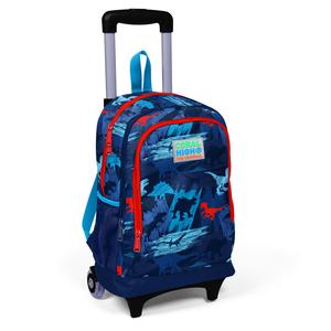 Coral High KIDS - Coral High Kids Lacivert Mavi Dinazor Desenli Işıklı Tekerlekli İki Bölmeli Çekçekli Sırt Çantası (1)