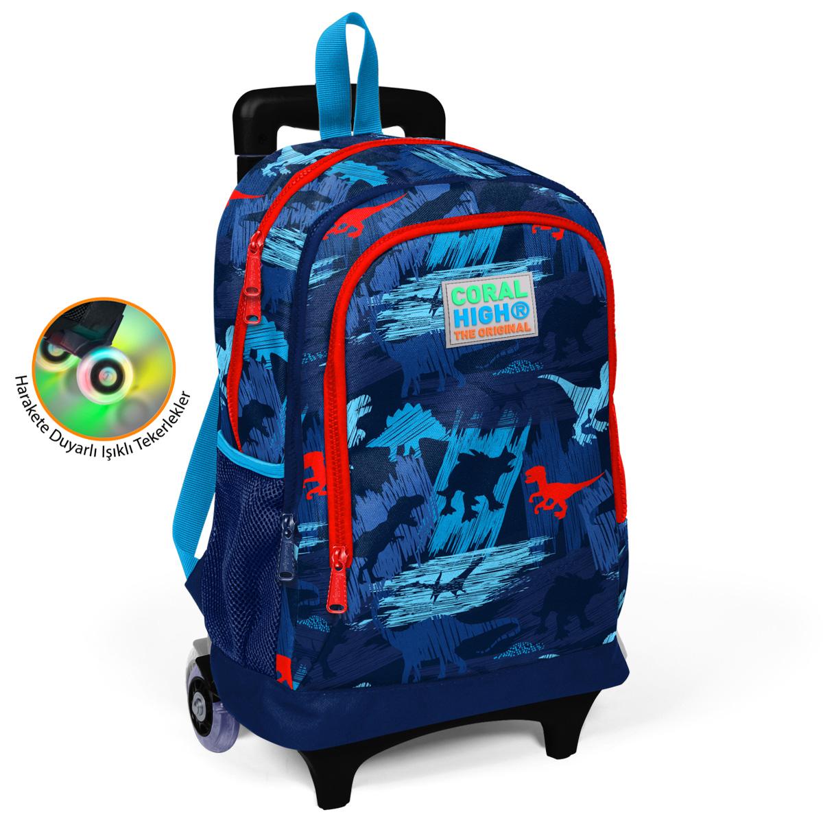 Coral High KIDS - Coral High Kids Lacivert Mavi Dinazor Desenli Işıklı Tekerlekli İki Bölmeli Çekçekli Sırt Çantası
