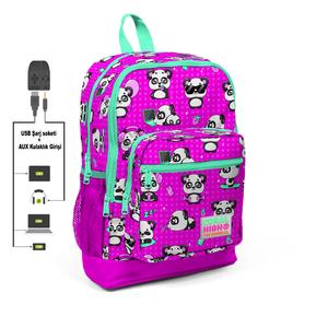 Coral High KIDS - Coral High Kids Pembe Panda Dört Bölmeli USB Şarjlı Kulaklık Çıkışlı SÖK-TAK Çekçekli Okul Sırt Çantası (1)