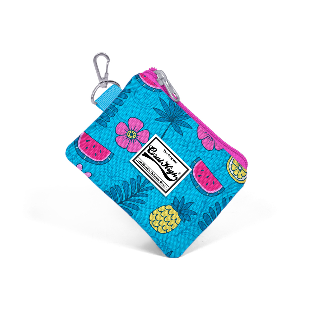Coral High KIDS - Coral High Kids Mavi Tropikal Desenli Bozuk Para Çantası
