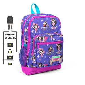 Coral High KIDS - Coral High Kids Lavanta Kız Desenli Dört Bölmeli USB Şarjlı Kulaklık Çıkışlı Okul Sırt Çantası