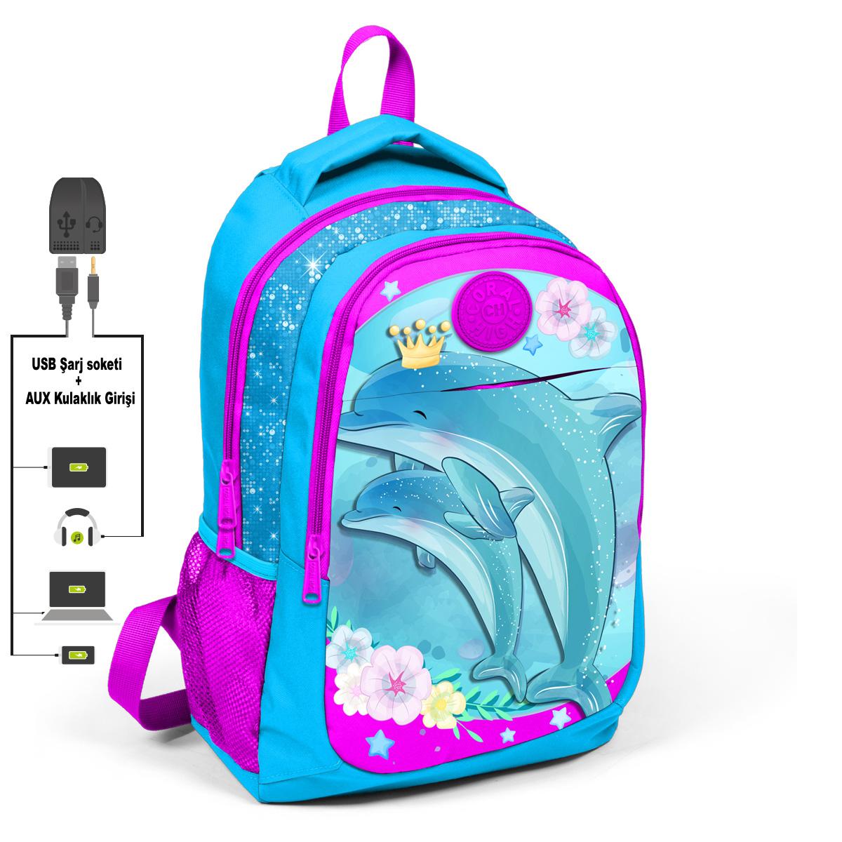 Coral High KIDS - Coral High Kids Mavi Yunuslu Üç Bölmeli USB Şarjlı Kulaklık Çıkışlı Sırt Çantası