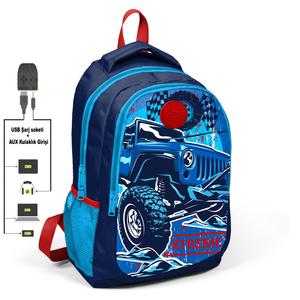 Coral High KIDS - Coral High Kids Lacivert Cip Arabalı Üç Bölmeli USB Şarjlı Kulaklık Çıkışlı Sırt Çantası