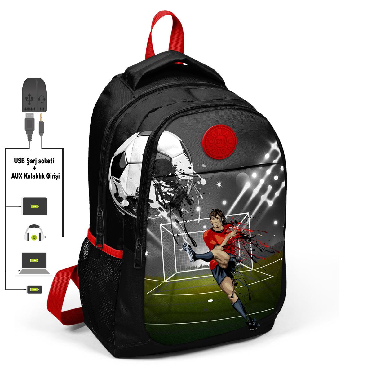 Coral High KIDS - Coral High Kids Siyah Futbollu Üç Bölmeli USB Şarjlı Kulaklık Çıkışlı Sırt Çantası