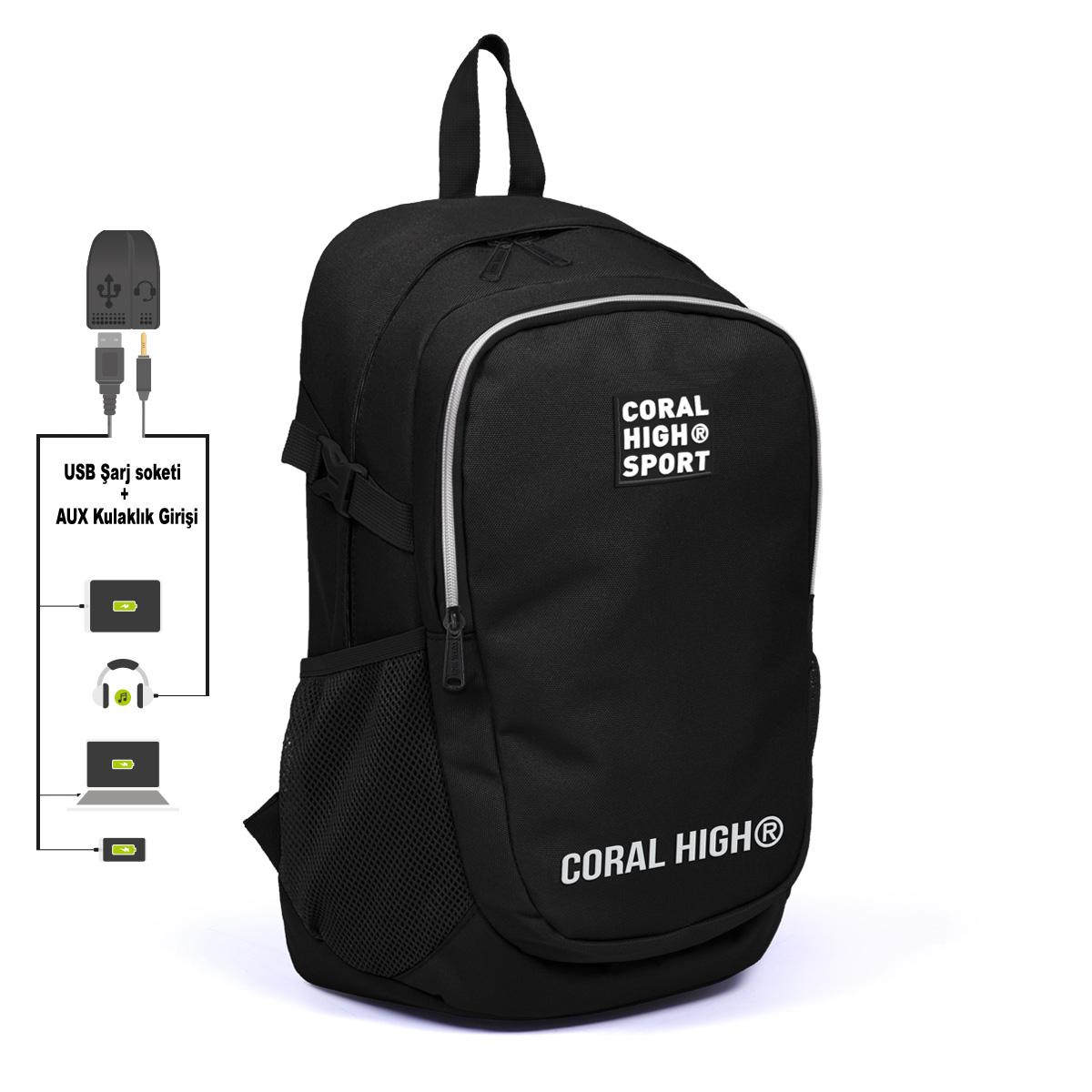 Coral High Sport - Coral High Sport Siyah İki Bölmeli Kilit Tokalı USB Şarjlı Kulaklık Çıkışlı Sırt Çantası