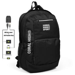 Coral High Sport - Coral High Sport Siyah Dört Bölmeli USB Şarjlı Kulaklık Çıkışlı Sırt Çantası